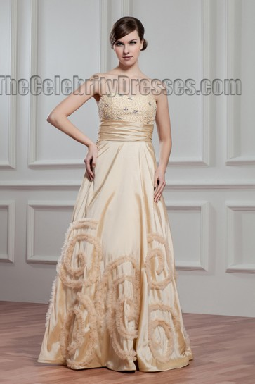 Floor Length Champagne Strapless Beaded Bridal Gown Wedding Dress