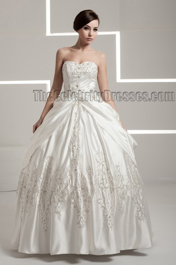 Floor Length Embroidered Strapless Sweetheart Ball Gown Wedding Dress