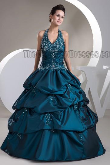 Floor Length Halter Beaded Ball Gowns Formal Dresses