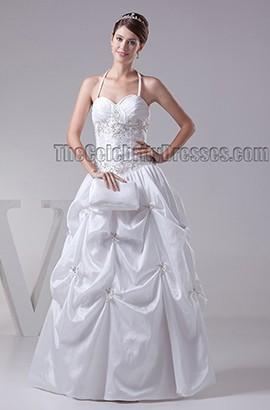 Floor Length Halter Lace Up A-Line Wedding Dresses