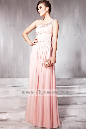 Floor Length Pink One Shoulder Beaded Prom Gown Evening Dresses