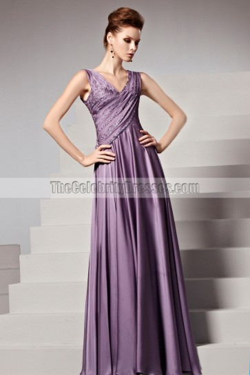 Floor Length Purple Beaded V-Neck Formal Gown Evening Dresses