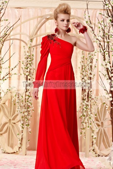Floor Length Red One Sleeve Beaded Evening Prom Dresses