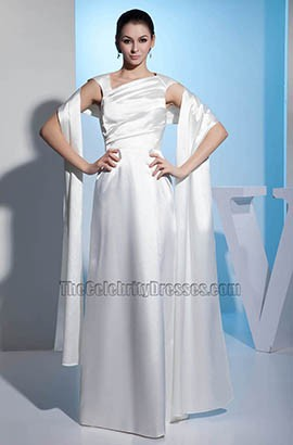 Elegant Floor Length Satin A-Line Wedding Dress With A Wrap