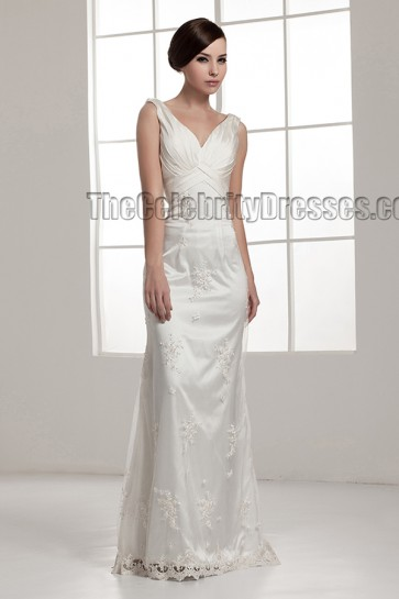 Floor Length Sheath/Column Drop Back Wedding Dresses