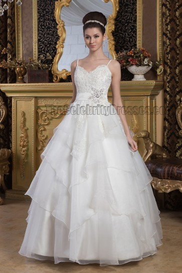 Floor Length Spaghetti Straps A-Line Beaded Wedding Dresses
