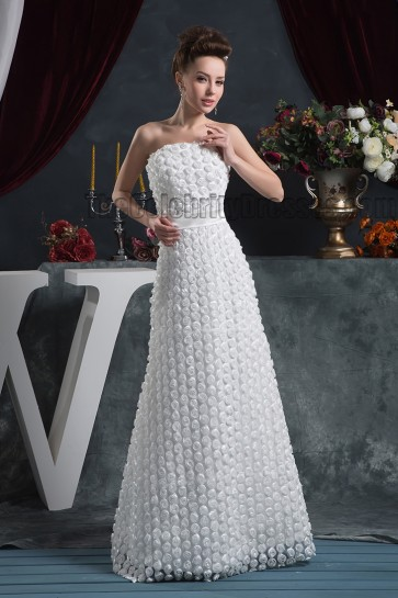 Floor Length Strapless 3D Flowers Wedding Dress Bridal Gown