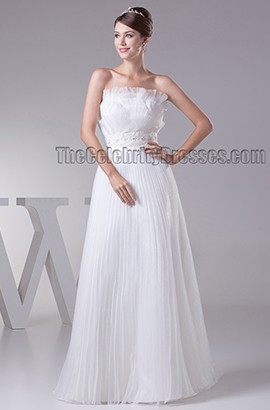 Floor Length Strapless A-Line Beaded Ruffles Wedding Dress