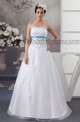 Floor Length Strapless Beaded Lace Up A-Line Wedding Dress With A Wrap