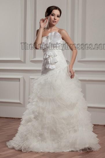 Floor Length Strapless Ruffles A-Line Wedding Dresses