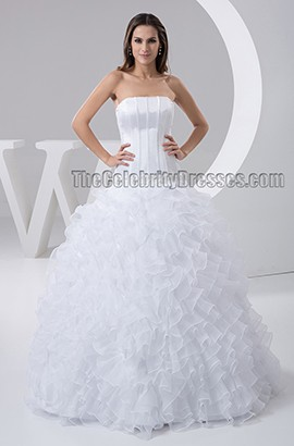 Floor Length Strapless Ruffles Beaded Wedding Dresses