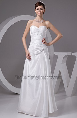 Floor Length Strapless Sweetheart Taffeta Wedding Dress