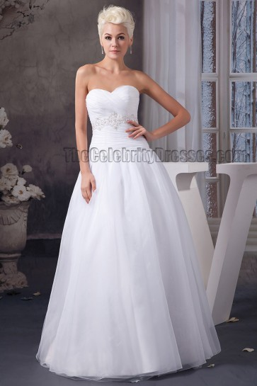 Floor Length Sweetheart Strapless Beaded A-Line Wedding Dress