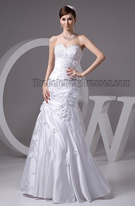 Floor Length Sweetheart Strapless Beaded Wedding Dresses