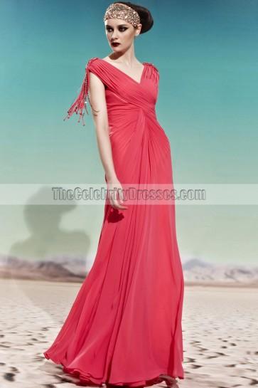 Floor Length V-Neck Chiffon Prom Gown Evening Formal Dresses