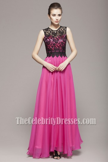 Fuchsia And Black Floor Length Evening Prom Dresses