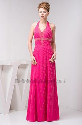 Fuchsia Halter Chiffon Open Back Evening Gown Prom Dress