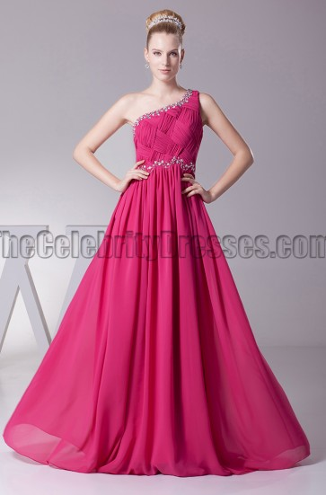 Fuchsia One Shoulder Prom Dress Evening Gown
