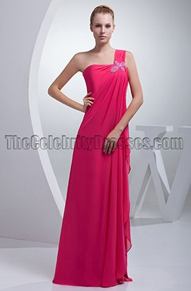 Fuchsia One Shoulder Chiffon Bridesmaid Prom Dresses