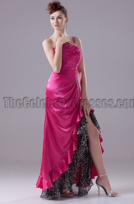 Fuchsia One Shoulder Backless Prom Dress Evening Gown