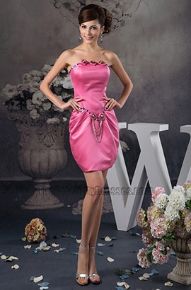 Fuchsia Strapless Beaded Party Homecoming Cocktail Dresses