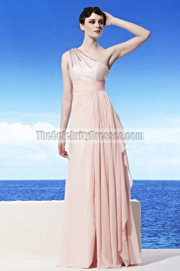 Full Length One Shoulder Beaded Evening Dress Prom Gown