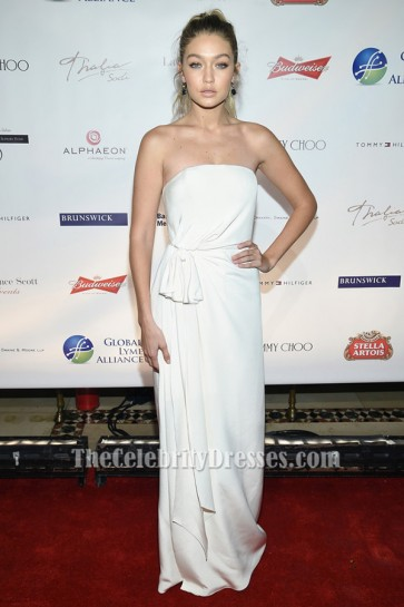 Gigi Hadid Ivory Strapless Evening Gown Prom Dresses TCD6349
