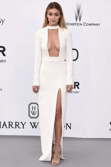 Gigi Hadid Sexy Ivory Long Sleeve Evening Dress 2015 AmfAR TCD6338