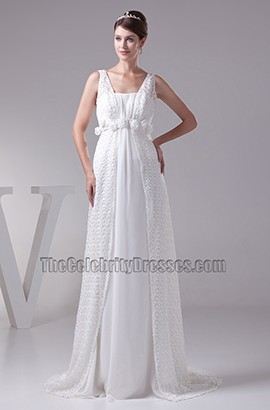 Gorgeous A-Line Beaded Chiffon Wedding Dress With 3D Flowers