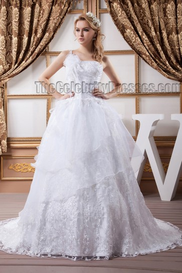 Gorgeous A-Line Lace One Shoulder Wedding Dress Bridal Gown