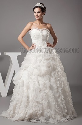 Gorgeous A-Line Strapless Sweetheart Organza Wedding Dress