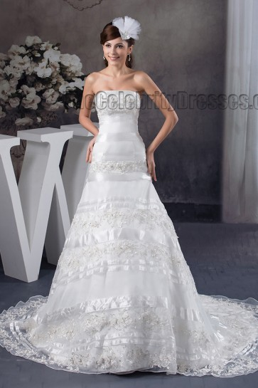 Gorgeous A-Line Strapless Embroidered Chapel Train Wedding Dresses
