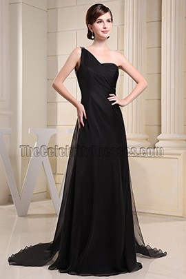 Backless Black One Shoulder Prom Dress Evening Formal Dresses