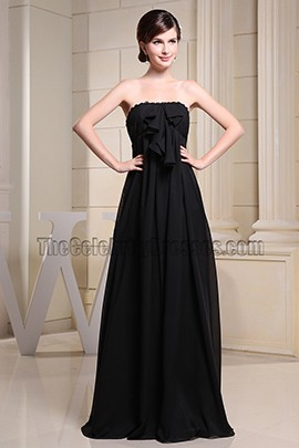 Floor Length Black Strapless Chiffon Prom Dress Evening Dresses