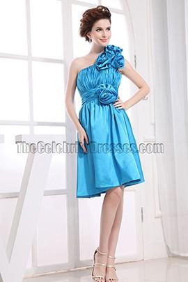Blue One Shoulder Cocktail Dress Party Bridesmaid Dresses