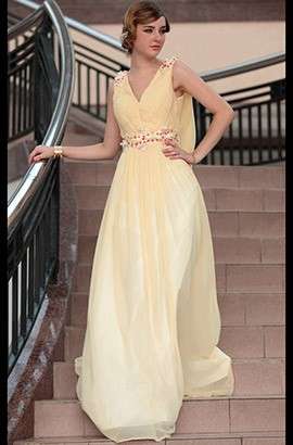 Gorgeous Floor Length Beaded Chiffon Evening Prom Dresses