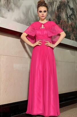 Fuchsia Floor Length Formal Prom Dress With A Wrap