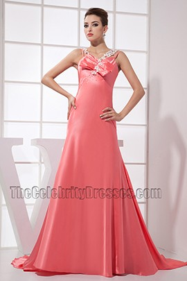 Pink Long Prom Dress Evening Formal Gowns With Beading
