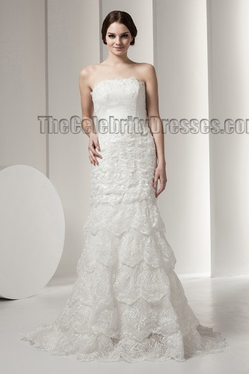 Gorgeous Mermaid Strapless Lace Sweep Brush Train Wedding Dress