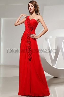 Red Sweetheart One Shoulder Prom Dress Evening Formal Dresses