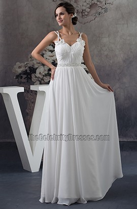 Spaghetti Straps Floor Length A-Line Chiffon Wedding Dress