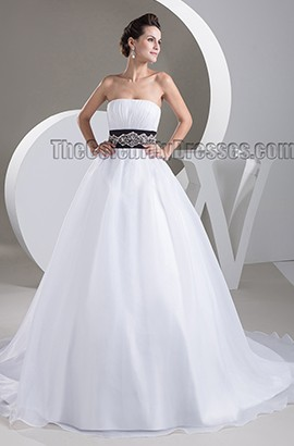 Gorgeous Strapless A-Line Beaded A-Line Chapel Train Wedding Dress
