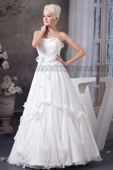 Gorgeous Strapless A-Line Floor Length Taffeta Wedding Dress