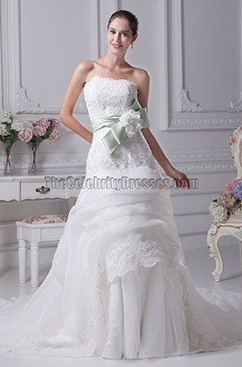 Gorgeous Strapless A-Line Lace Organza Wedding Dress