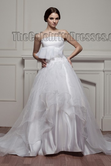 Gorgeous Strapless A-Line Organza Beaded Chapel Train Wedding Dresses