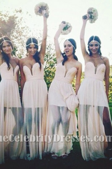 Gorgeous Strapless Chiffon Evening Gown Bridesmaid Dresses