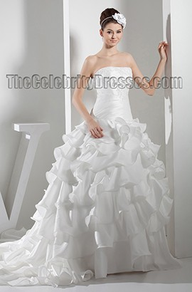 Gorgeous Strapless Embroidered Ruffles Chapel Train Wedding Dress