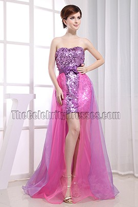 Gorgeous Strapless Sequins High Low Prom Dress Evening Gown