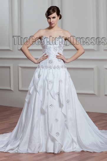 Gorgeous Strapless Sweep/Brush Train Wedding Dress With Beading