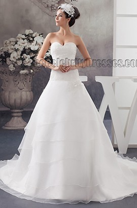Sweetheart Strapless A-Line Chapel Train Embroidered Wedding Dress